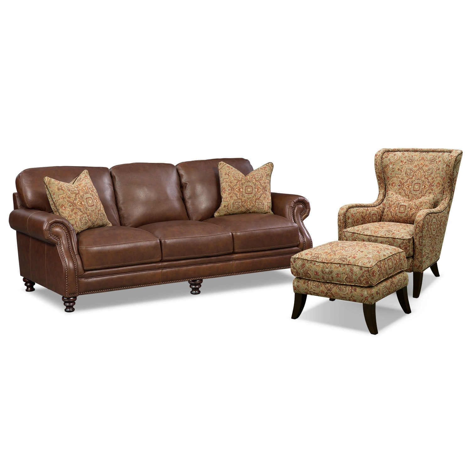 Living Room Furniture - Carrington Tobacco 3 Pc. Living Room w/ Accent Chair and Accent Ottoman