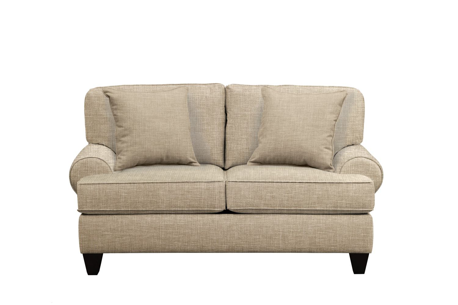 "Living Room Furniture - Bailey Roll Arm Sofa 67"" Milford II Toast w/ Milford II Toast  Pillow"