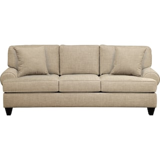 "Bailey Roll Arm Sofa 91"" Milford II Toast w/ Milford II Toast  Pillow"