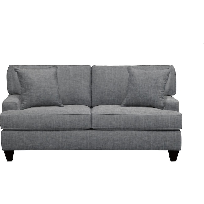 "Living Room Furniture - Conner Track Arm Sofa 75"" Milford II Charcoal w/ Milford II Charcoal  Pillow"