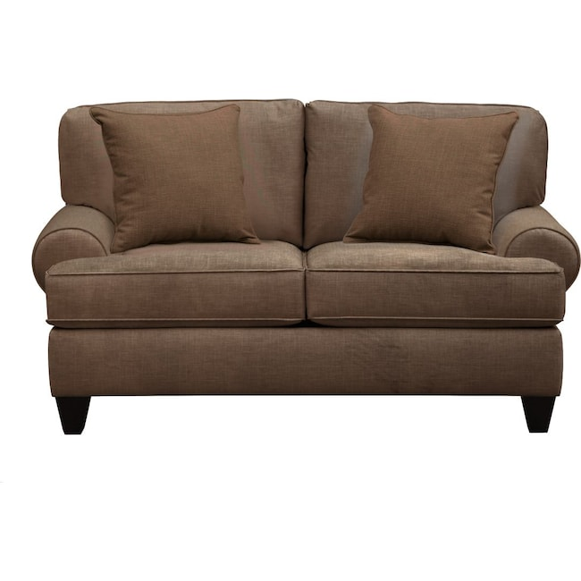"Living Room Furniture - Bailey Roll Arm Sofa 67"" Oakley III Java w/ Oakley III Java Pillow"