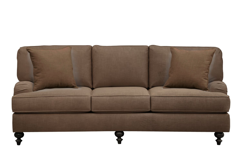"Living Room Furniture - Avery English Arm Sofa 86"" Oakley III Java w/ Oakley III Java Pillow"