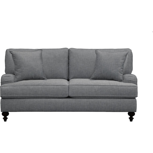 "Living Room Furniture - Avery English Arm Sofa 74"" Milford II Charcoal w/ Milford II Charcoal  Pillow"