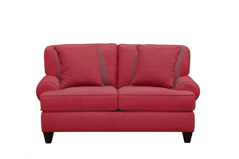 "Living Room Furniture - Bailey Roll Arm Sofa 67"" Oakley III Tomato w/ Oakley III Tomato Pillow"