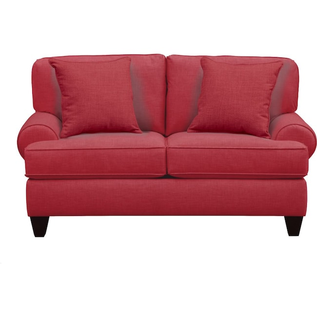 "Living Room Furniture - Bailey Roll Arm Sofa 67"" Oakley III Tomato w/ Oakley III Tomato Pillow"