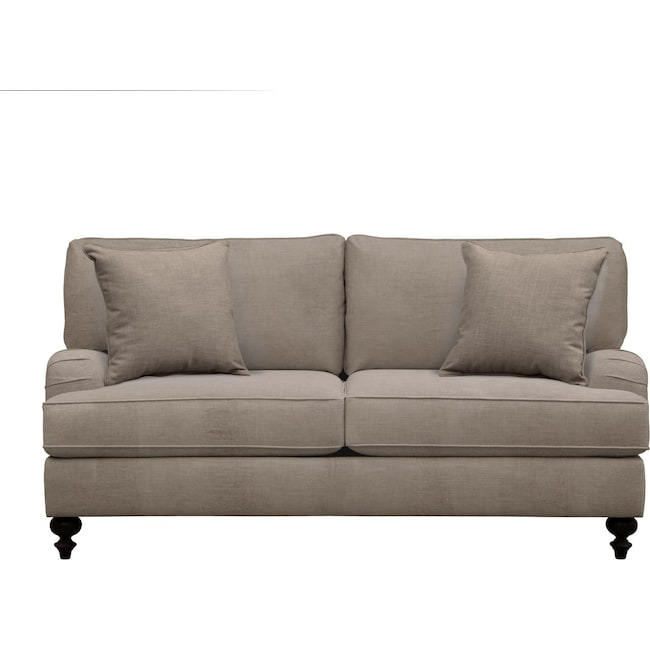 "Living Room Furniture - Avery English Arm Sofa 74"" Oakley III Granite w/ Oakley III Granite Pillow"