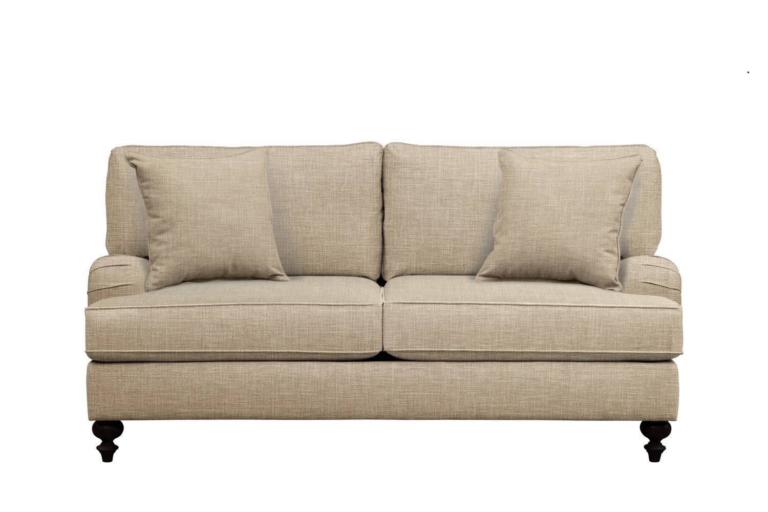 "Living Room Furniture - Avery English Arm Sofa 74"" Milford II Toast w/ Milford II Toast  Pillow"