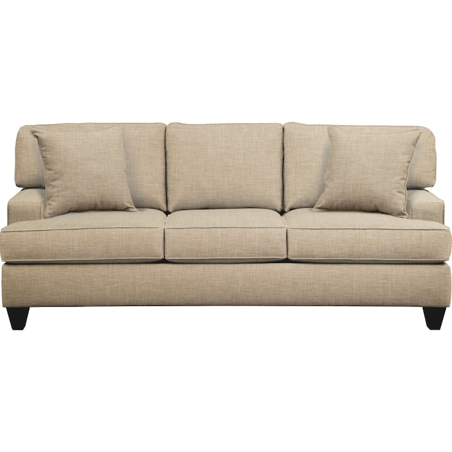 "Living Room Furniture - Conner Track Arm Sofa 87"" Milford II Toast w/ Milford II Toast  Pillow"