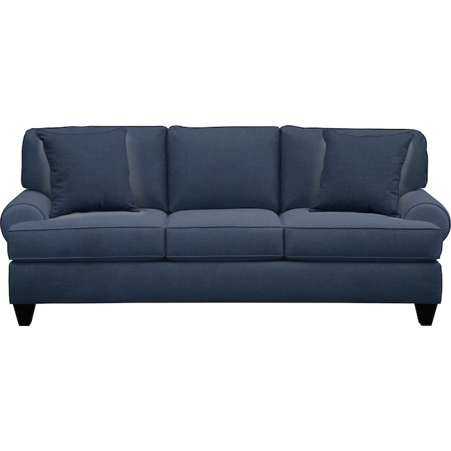 "Living Room Furniture - Bailey Roll Arm Sofa 91"" Oakley III Ink w/ Oakley III Ink Pillow"