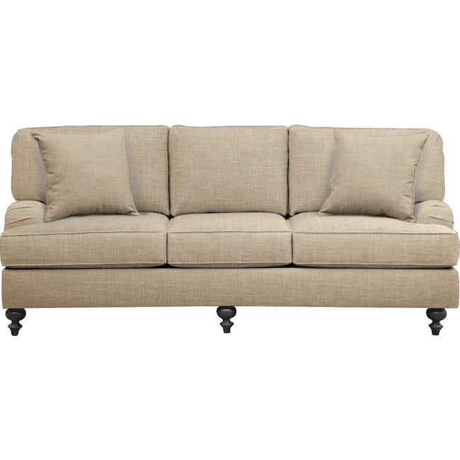 "Living Room Furniture - Avery English Arm Sofa 86"" Milford II Toast w/ Milford II Toast  Pillow"