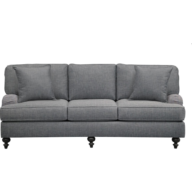 "Living Room Furniture - Avery English Arm Sofa 86"" Milford II Charcoal w/ Milford II Charcoal  Pillow"