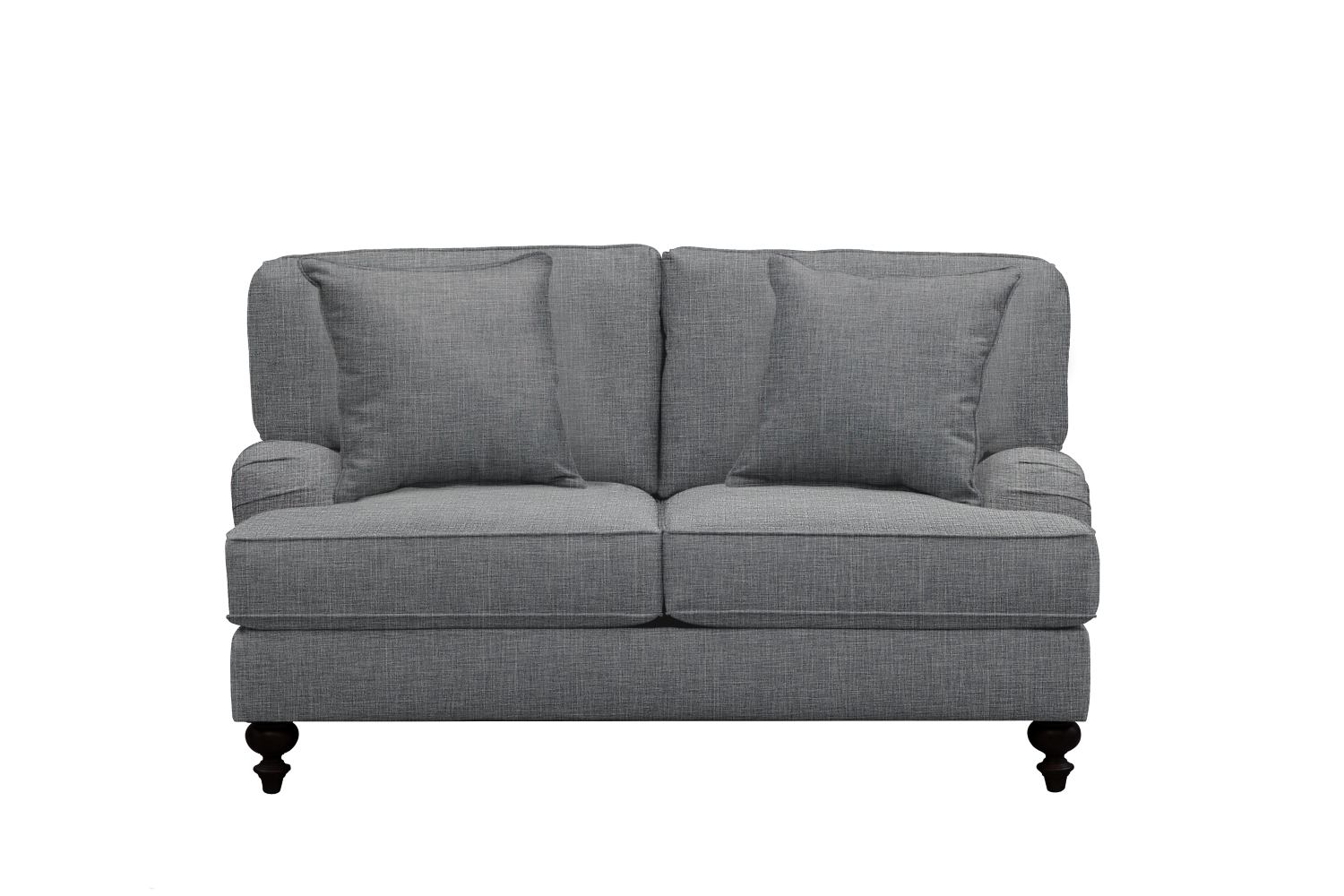 "Living Room Furniture - Avery English Arm Sofa 62"" Milford II Charcoal w/ Milford II Charcoal  Pillow"