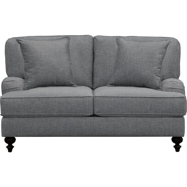 "Living Room Furniture - Avery English Arm Sofa 62"" Milford II Charcoal w/ Milford II Charcoal  Pillow"