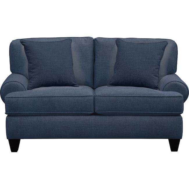 "Living Room Furniture - Bailey Roll Arm Sofa 67"" Oakley III Ink w/ Oakley III Ink Pillow"