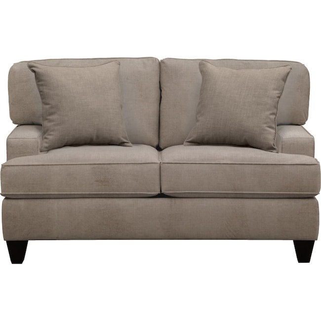 "Living Room Furniture - Conner Track Arm Sofa 63"" Oakley III Granite w/ Oakley III Granite Pillow"