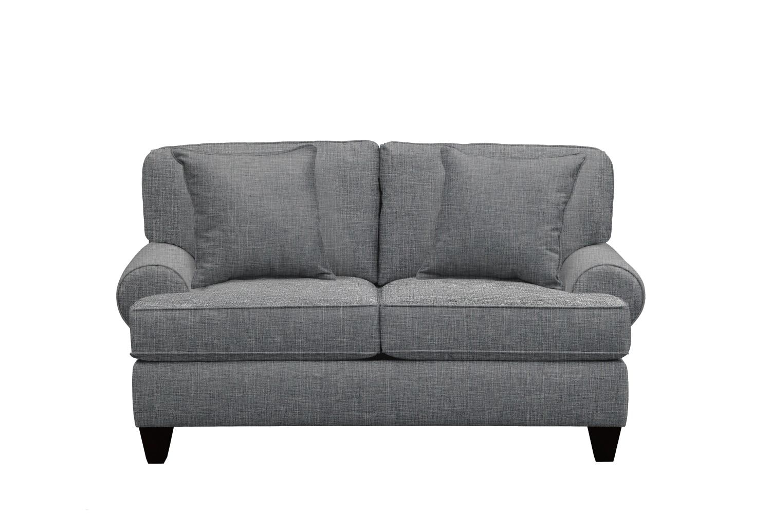 "Living Room Furniture - Bailey Roll Arm Sofa 67"" Milford II Charcoal w/ Milford II Charcoal  Pillow"