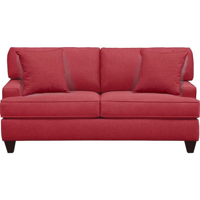 "Living Room Furniture - Conner Track Arm Sofa 75"" Oakley III Tomato w/ Oakley III Tomato Pillow"