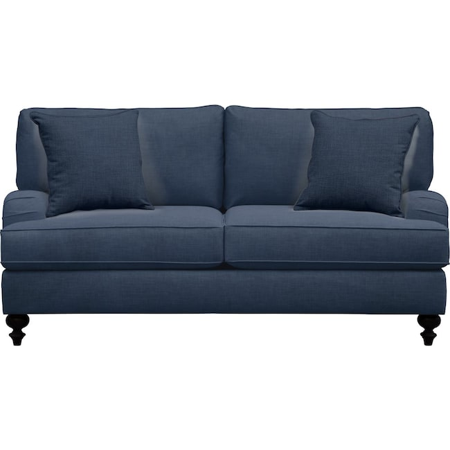 "Living Room Furniture - Avery English Arm Sofa 74"" Oakley III Ink w/ Oakley III Ink Pillow"