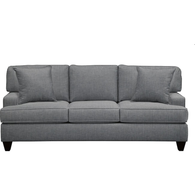 """Living Room Furniture - Conner Track Arm Sofa 87"""" Milford II Charcoal w/ Milford II Charcoal  Pillow"""