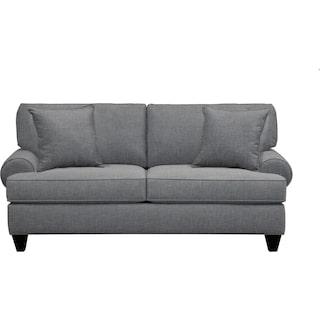 "Bailey Roll Arm Sofa 79"" Milford II Charcoal w/ Milford II Charcoal  Pillow"