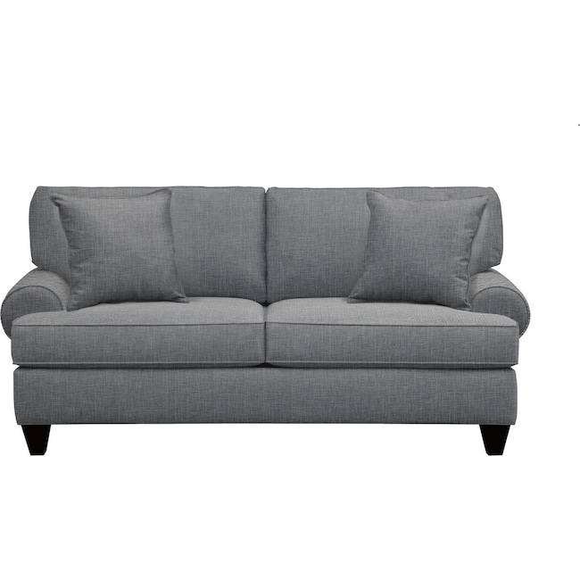 "Living Room Furniture - Bailey Roll Arm Sofa 79"" Milford II Charcoal w/ Milford II Charcoal  Pillow"