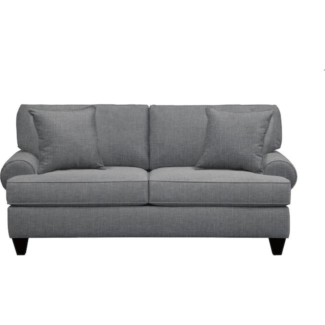 "Living Room Furniture - Bailey Roll Arm Sofa 79"" Milford II Charcoal w/ Milford II Charcoal  Pillow"