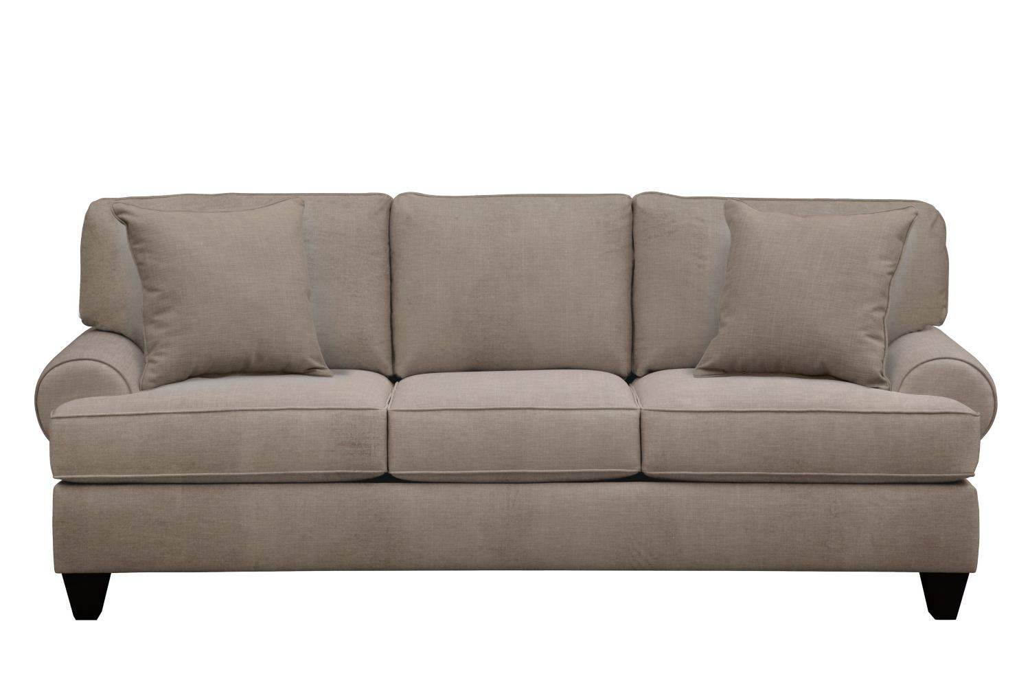 "Living Room Furniture - Bailey Roll Arm Sofa 91"" Oakley III Granite w/ Oakley III Granite Pillow"