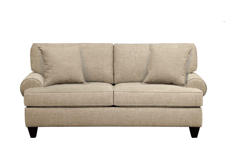"Bailey Roll Arm Sofa 79"" Milford II Toast w/ Milford II Toast  Pillow"