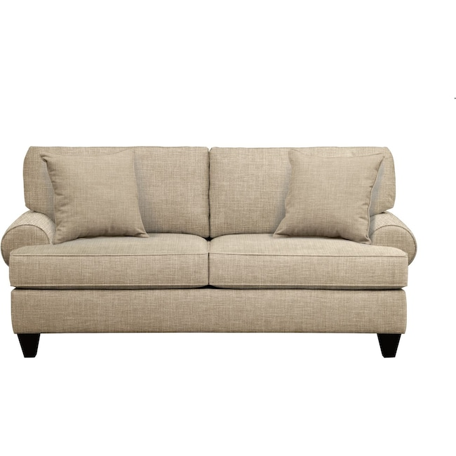 "Living Room Furniture - Bailey Roll Arm Sofa 79"" Milford II Toast w/ Milford II Toast  Pillow"