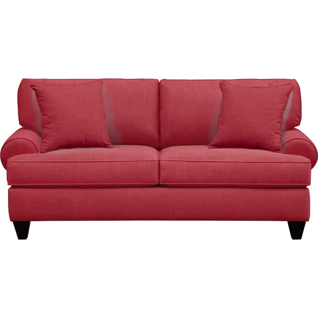 "Living Room Furniture - Bailey Roll Arm Sofa 79"" Oakley III Tomato w/ Oakley III Tomato Pillow"