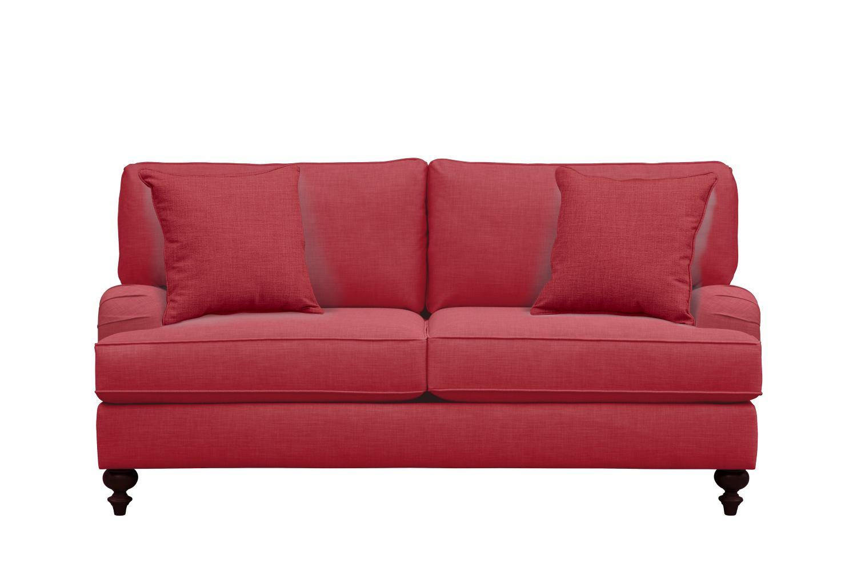 "Living Room Furniture - Avery English Arm Sofa 74"" Oakley III Tomato w/ Oakley III Tomato Pillow"
