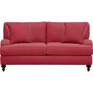 "Avery English Arm Sofa 74"" Oakley III Tomato w/ Oakley III Tomato Pillow"