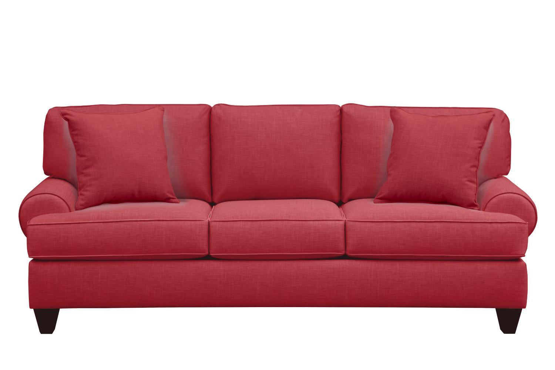 "Bailey Roll Arm Sofa 91"" Oakley III Tomato w/ Oakley III Tomato Pillow"