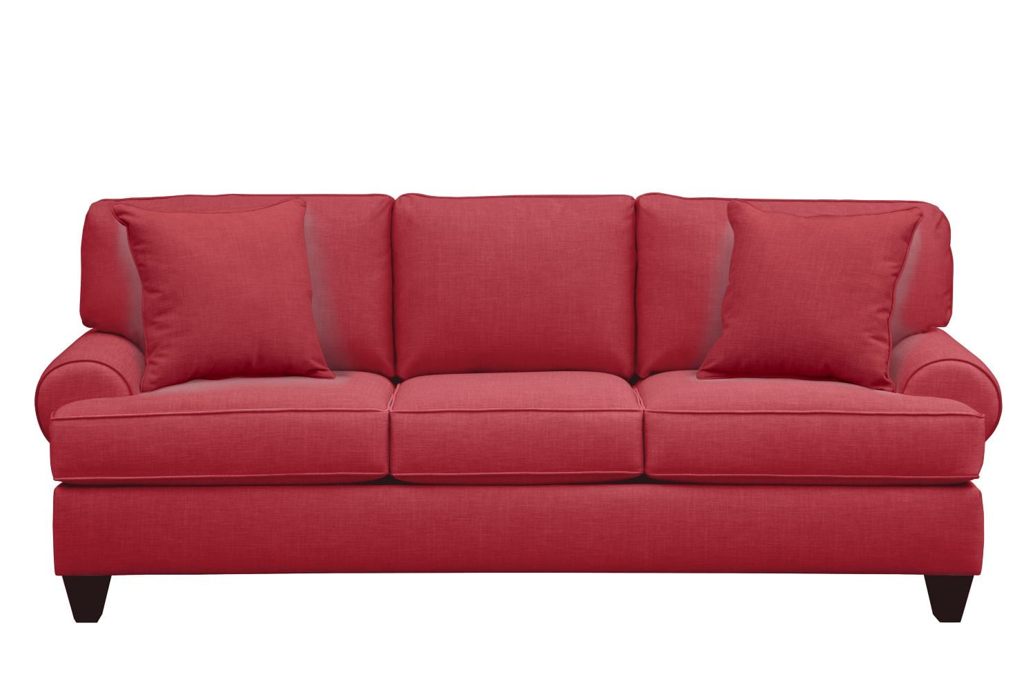 "Living Room Furniture - Bailey Roll Arm Sofa 91"" Oakley III Tomato w/ Oakley III Tomato Pillow"