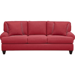 "Bailey Roll Arm Sofa 91"" Oakley III Tomato w/ Oakley III Tomato Pillow"