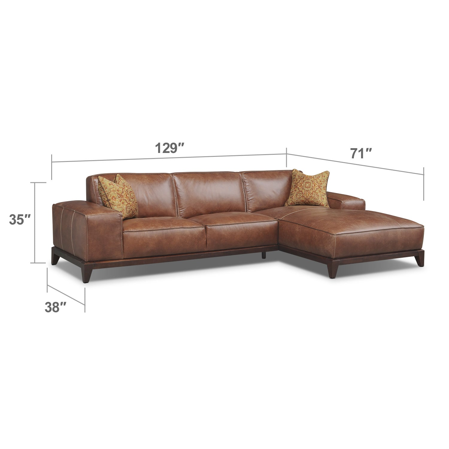 Living Room Furniture - Harrison 2-Piece Right-Facing Sectional - Tobacco