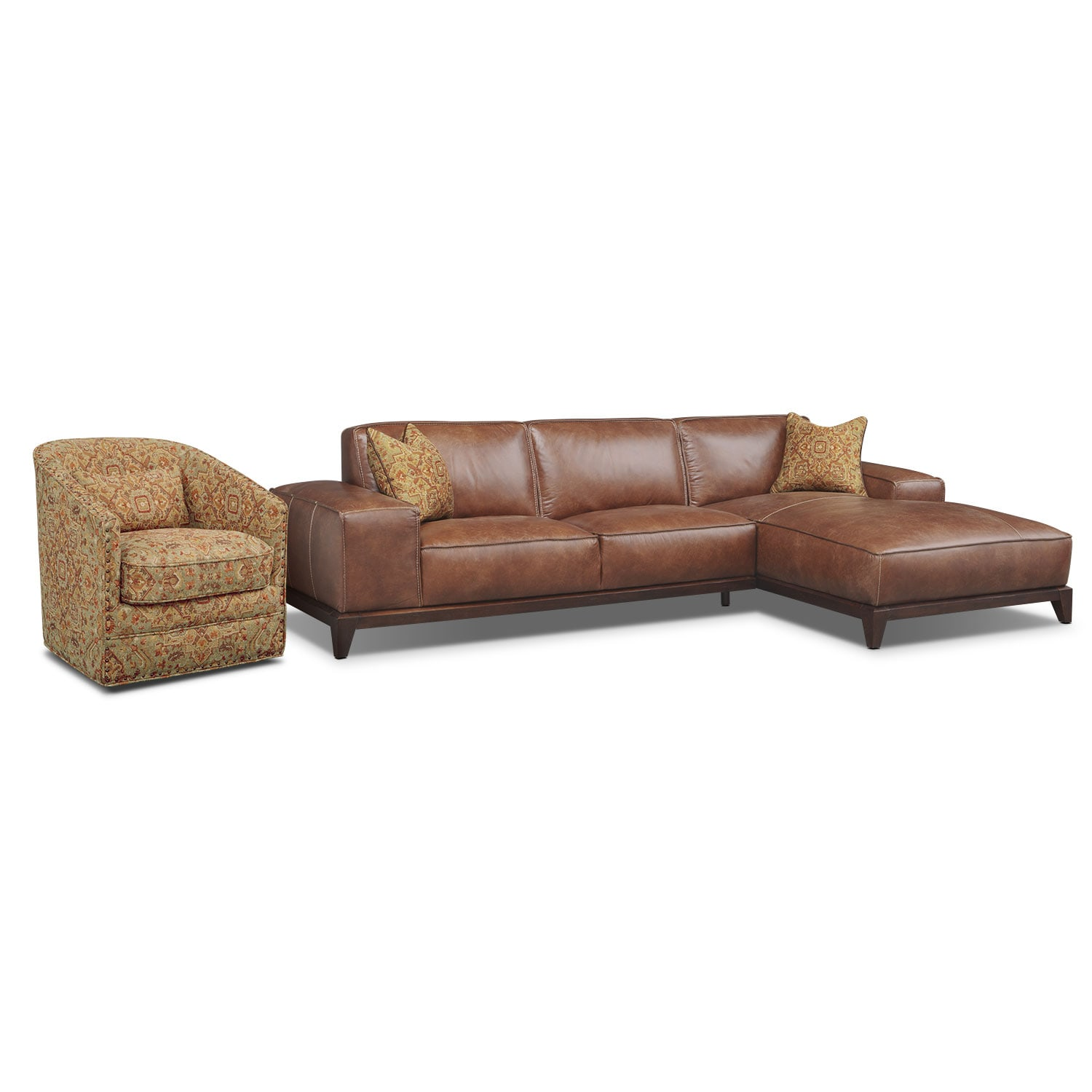 [Harrison 2 Pc. Sectional and Swivel Chair]