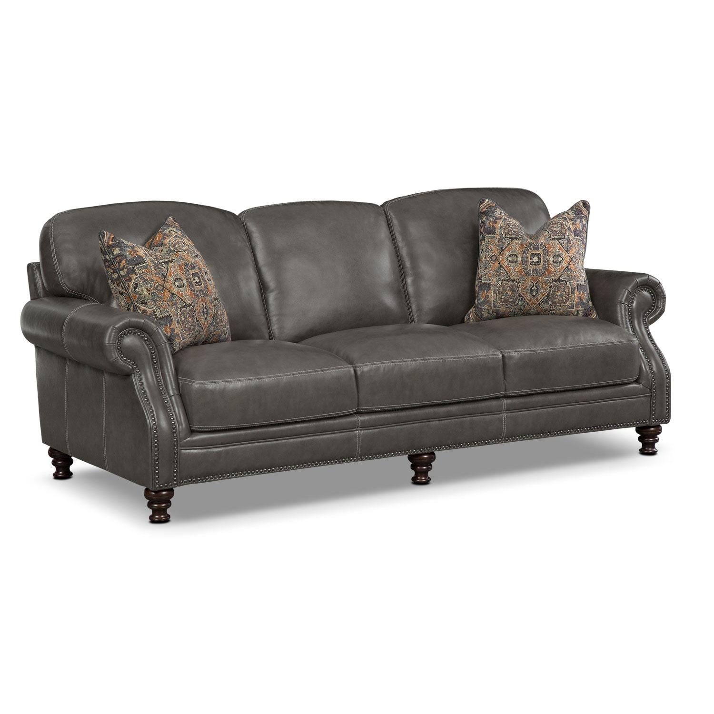 Living Room Furniture - Carrington Charcoal Sofa