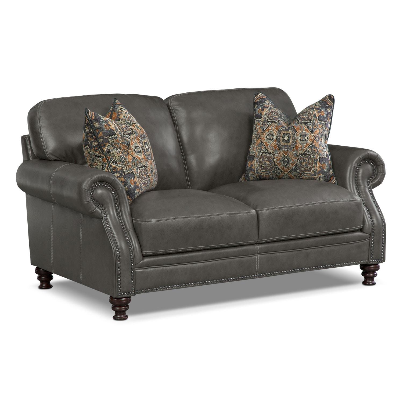 Living Room Furniture - Carrington Charcoal Loveseat