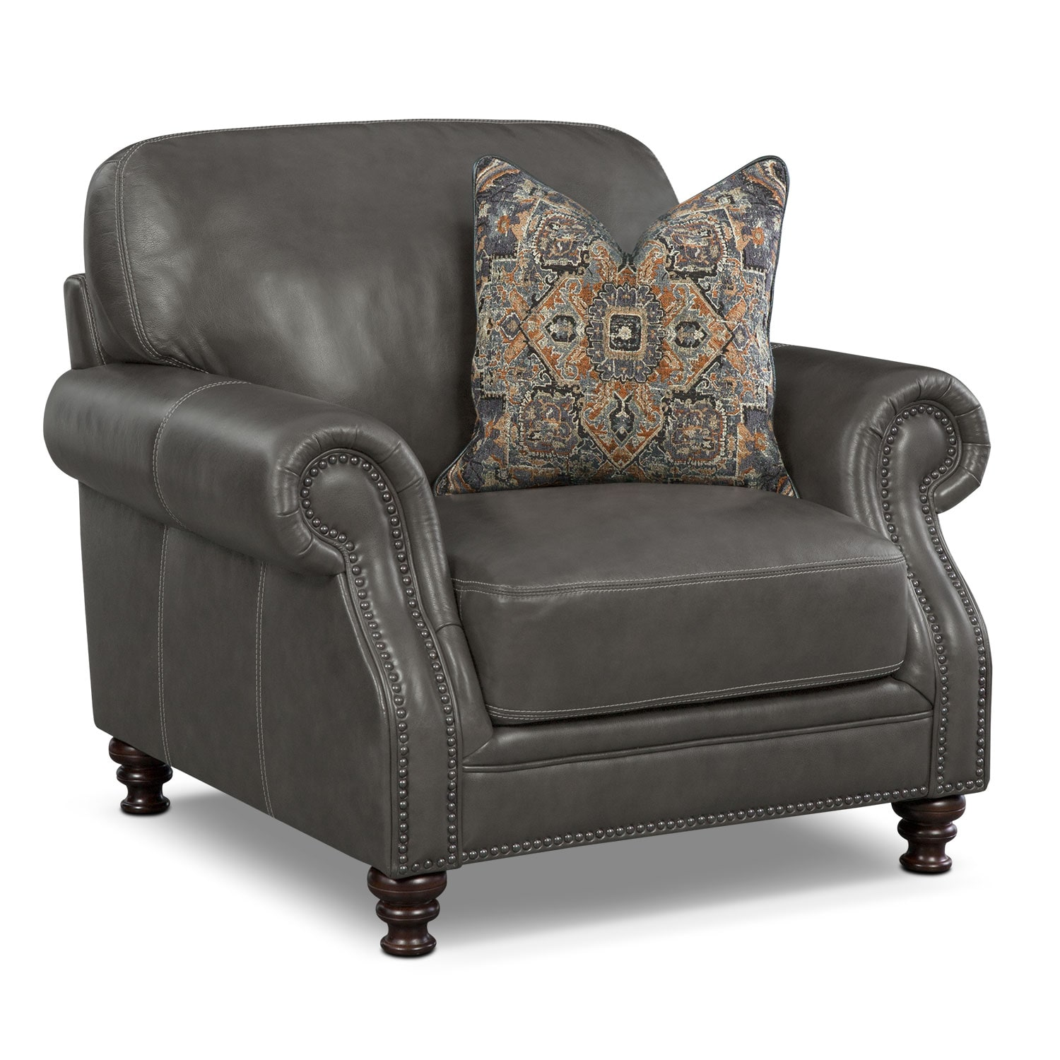 Living Room Furniture - Carrington Charcoal Chair