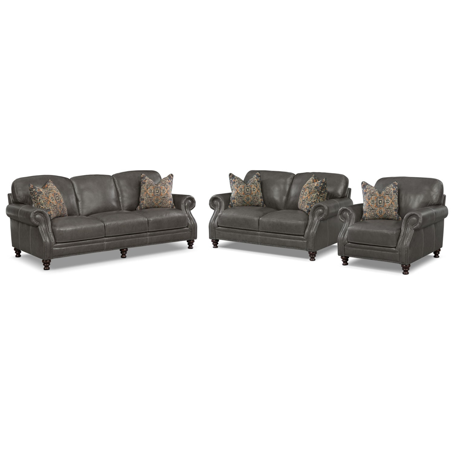 Living Room Furniture - Carrington Charcoal 3 Pc. Living Room