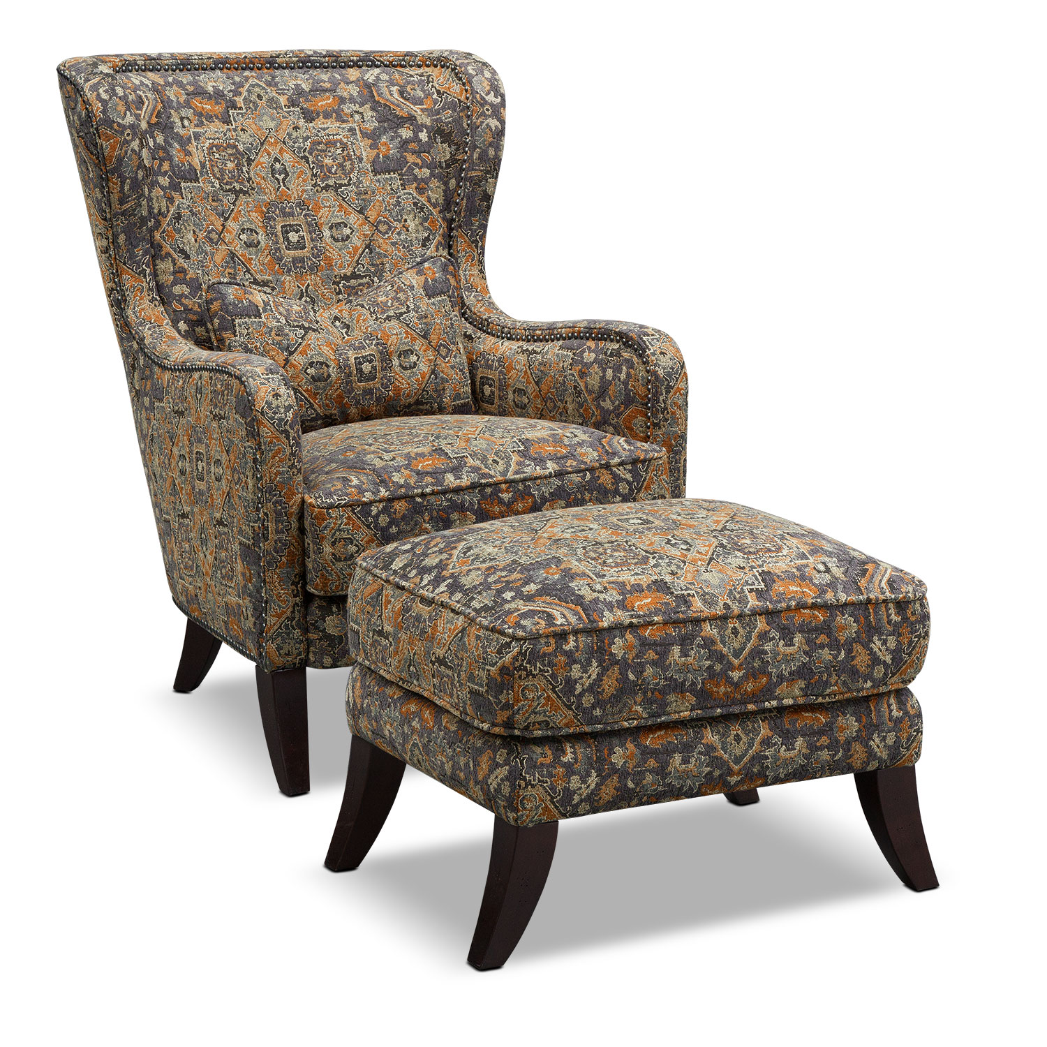 Carrington Charcoal Accent Chair and Ottoman