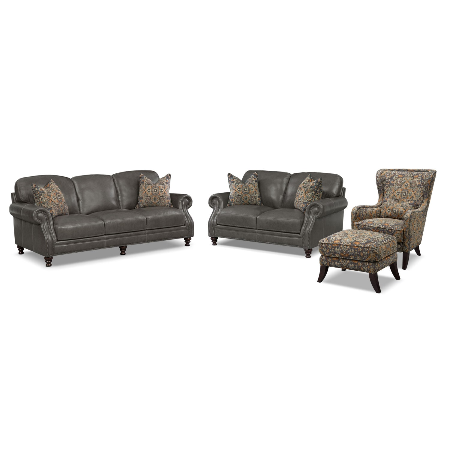 Living Room Furniture - Carrington Charcoal 4 Pc. Living Room