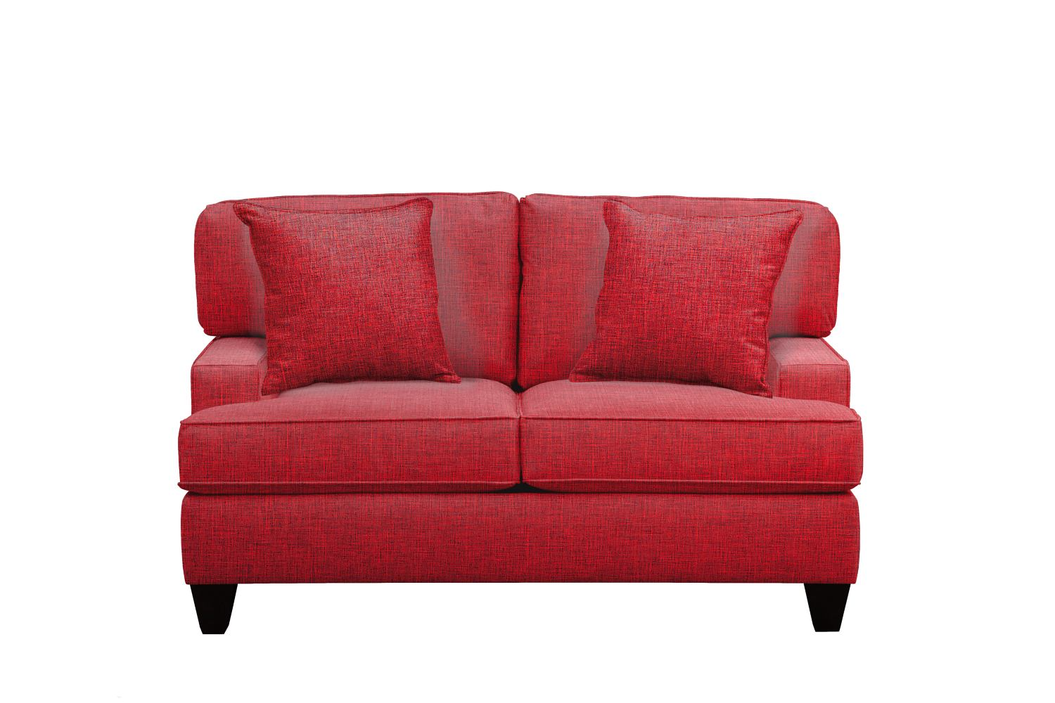 """Conner Track Arm Sofa 63"""" Milford II Red w/ Milford II Red  Pillow"""