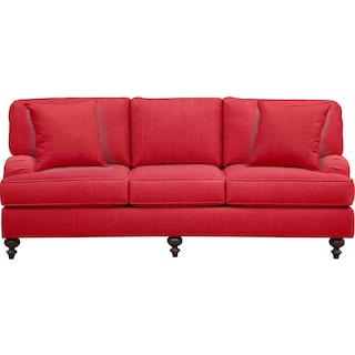 "Avery English Arm Sofa 86"" Depalma Cherry w/ Depalma Cherry Pillow"