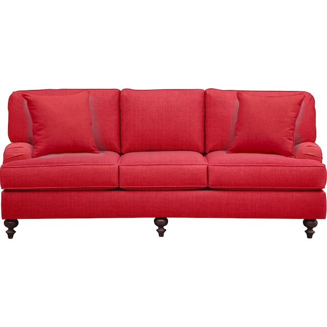 "Living Room Furniture - Avery English Arm Sofa 86"" Depalma Cherry w/ Depalma Cherry Pillow"