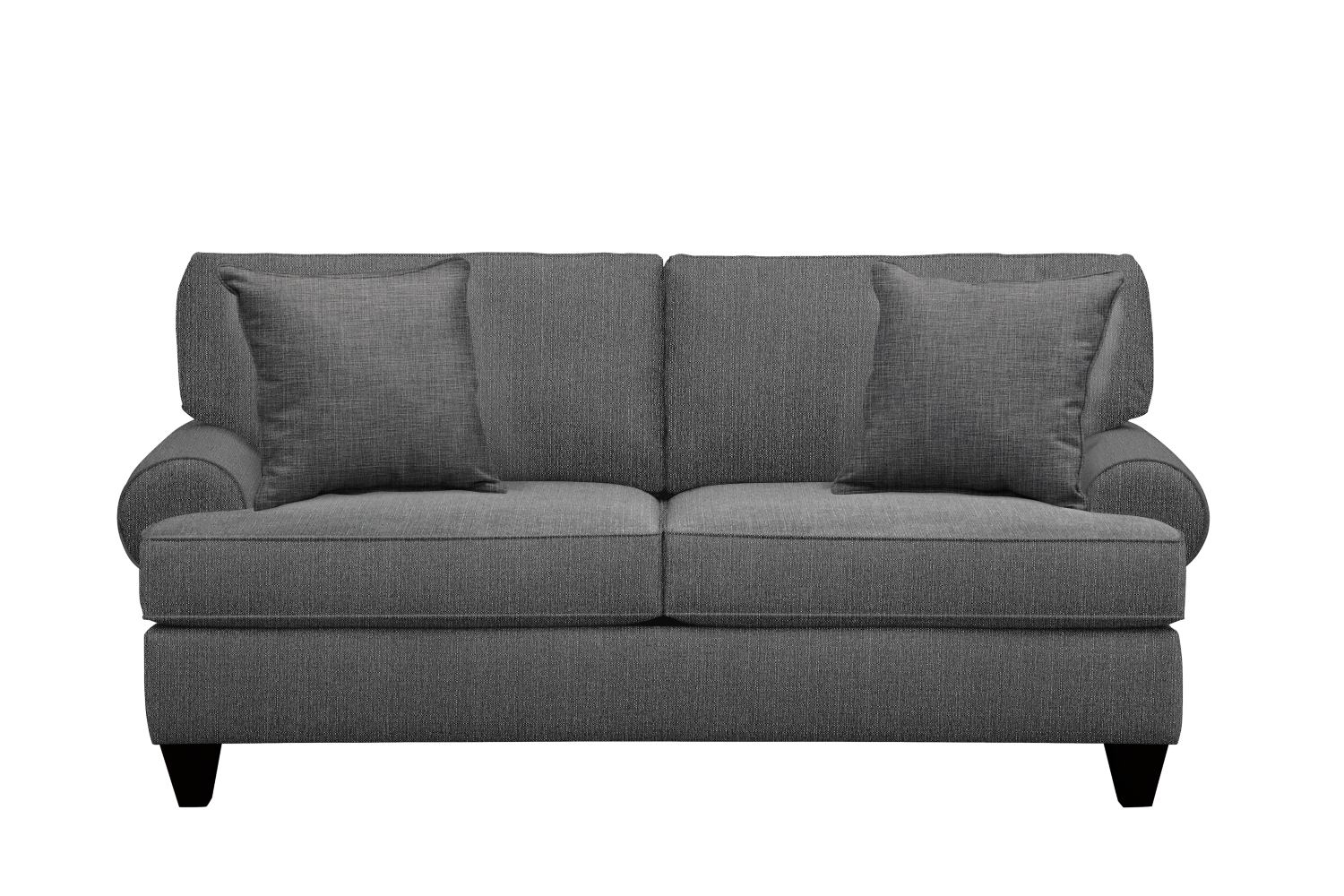 "Living Room Furniture - Bailey Roll Arm Sofa 79"" Depalma Charcoal w/ Depalma Charcoal Pillow"