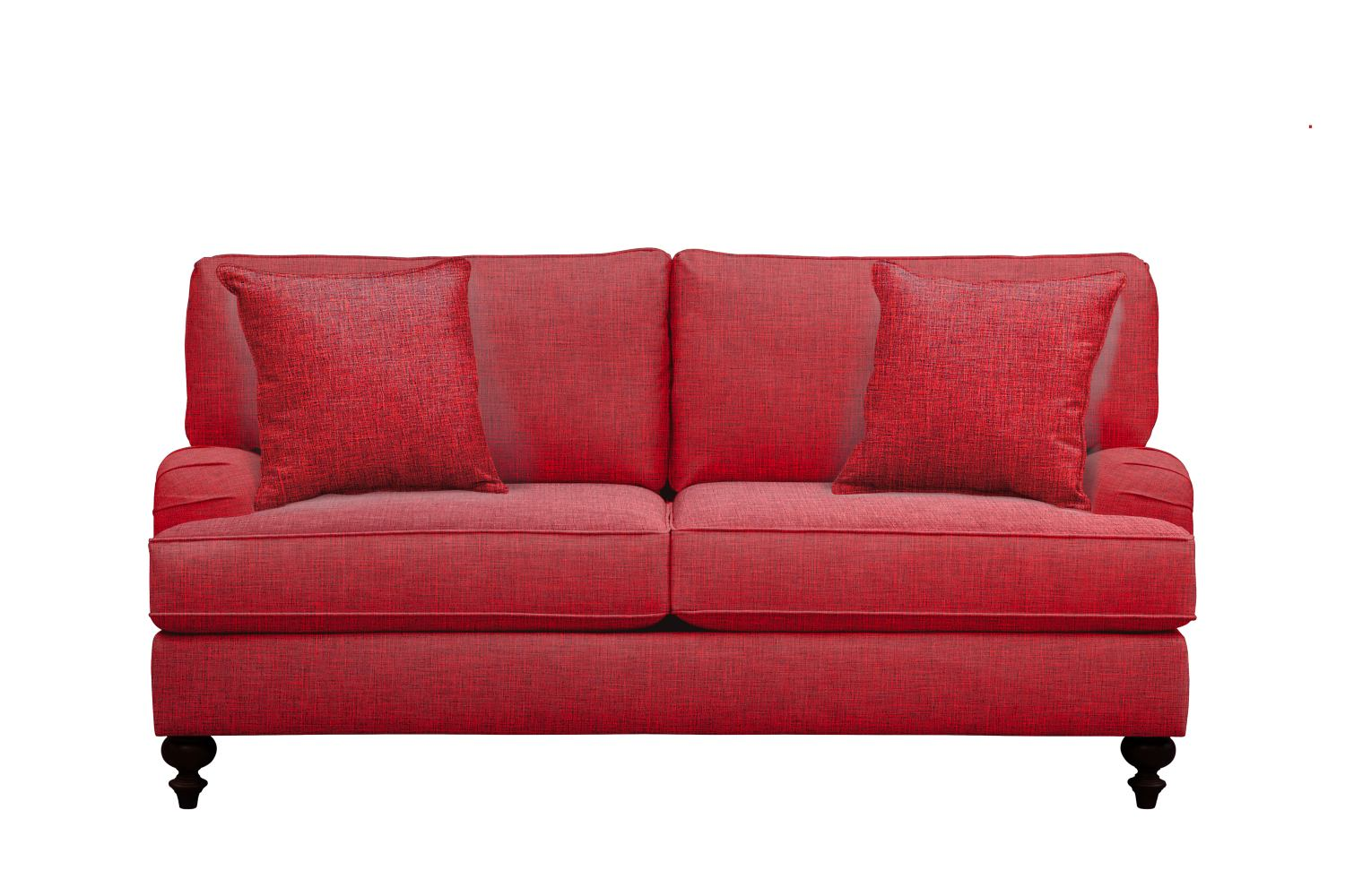 "Living Room Furniture - Avery English Arm Sofa 74"" Milford II Red w/ Milford II Red  Pillow"