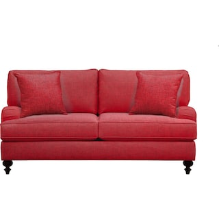 """Avery English Arm Sofa 74"""" Milford II Red w/ Milford II Red  Pillow"""