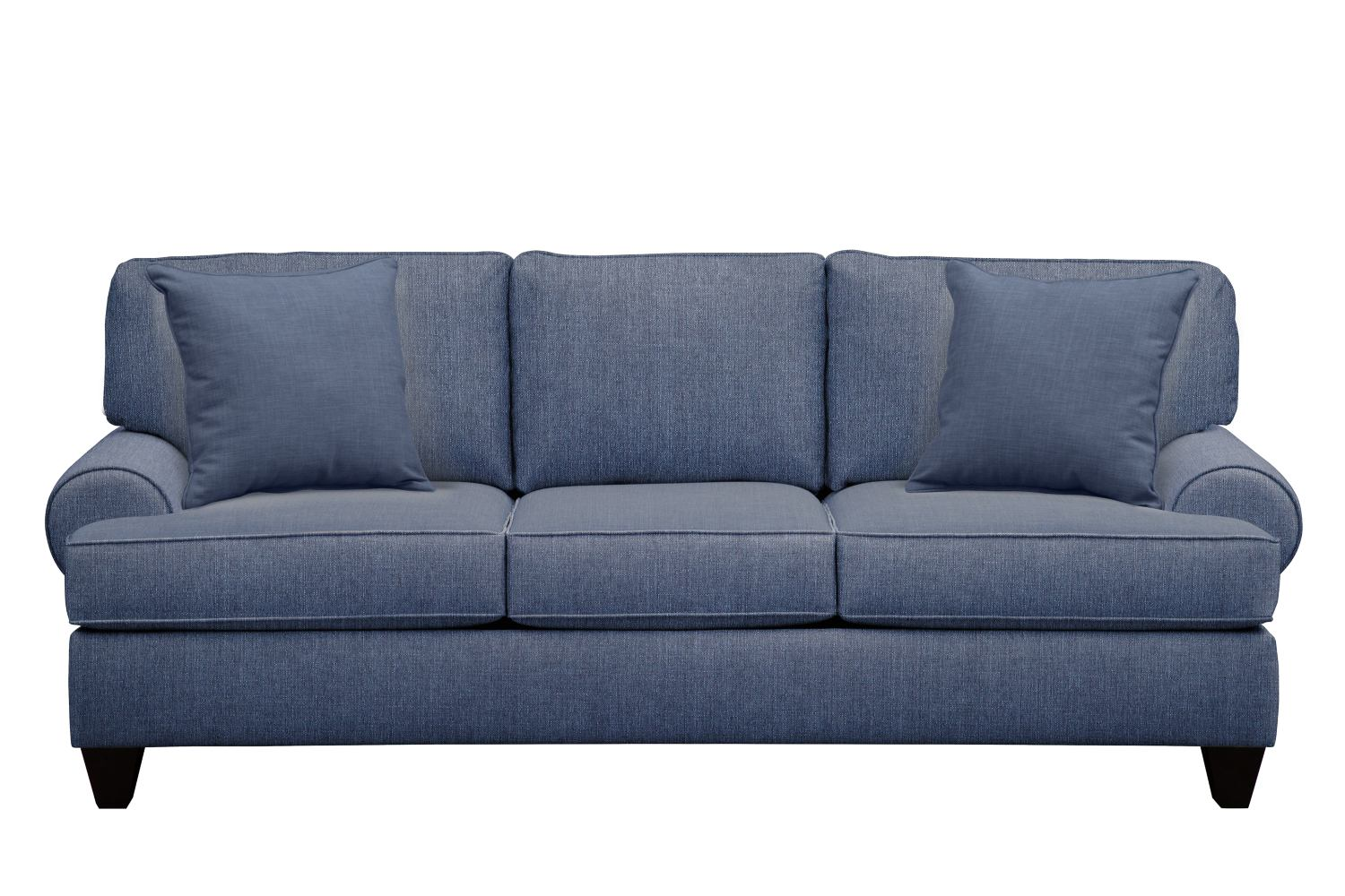 "Living Room Furniture - Bailey Roll Arm Sofa 91"" Depalma Ink w/ Depalma Ink Pillow"